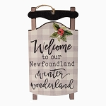 Ornament - Wooden Sleigh - Welcome to our Newfoundland Winter Wonderland   - 5