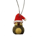 Wooden Puffin with Santa Hat Ornament 2