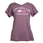 Ladies - V Neck - Newfoundland and Labrador with Moose - Heather