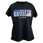 Ladies T -  shirt - Newfoundland w Canada and Rhinestones