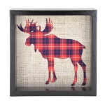 Moose Buffalo Plaid Window Box - Black Frame