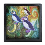 Colourful Puffins Window Box - Black Frame