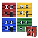 Coasters - Hand Painted Row house - Set of 4 - 4