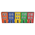 Key Rack - Hand Painted - 5 Row houses - 10