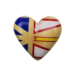 Wooden Heart with Newfoundland Flag -  Magnet  - 1.5