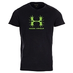 Mens - T Shirt - Moose Armour - Green Antlers - Black