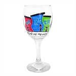 Wine Glass - Hand Painted - Jelly Bean Row -